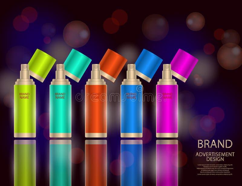 Glamorous facial treatment essence set on the sparkling effects background, elegant ads for design vector illustration