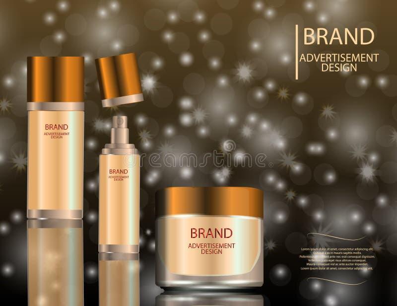Glamorous facial treatment essence set on the sparkling effects background, elegant ads for design. stock illustration