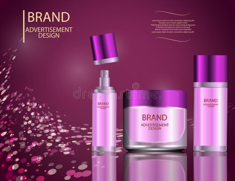 Glamorous facial treatment essence set on the sparkling effects background, elegant ads for design. vector illustration