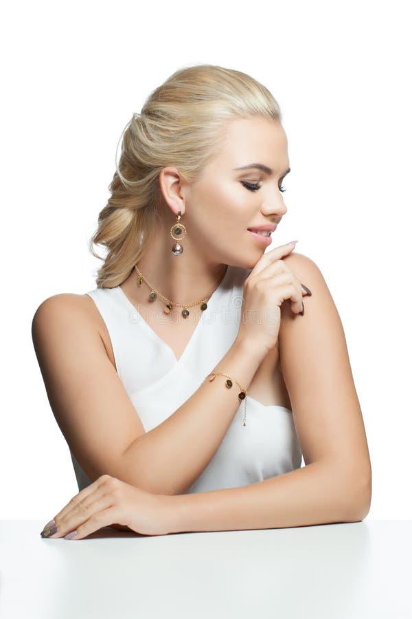 Glamorous fashion model woman isolated on white background stock photography
