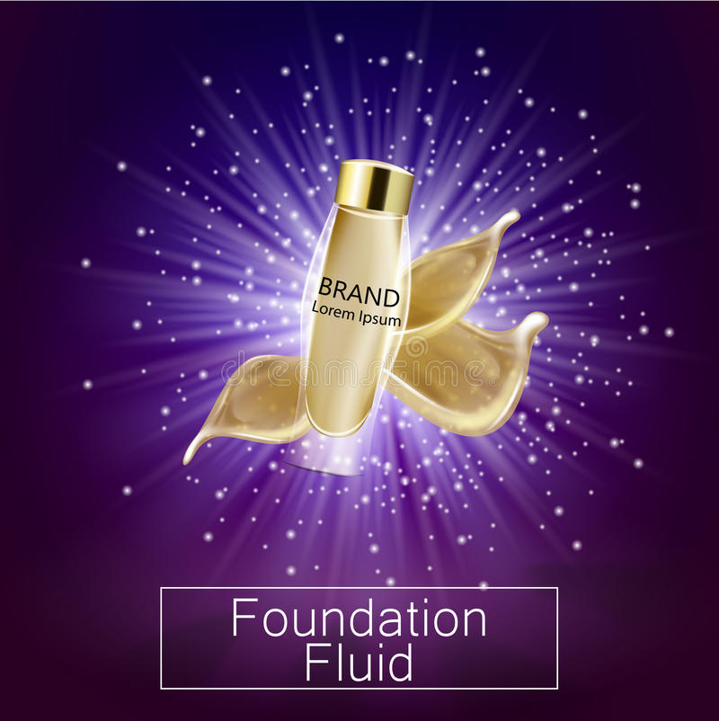 Glamorous foundation ads, glass bottle with foundation and foundation splashes, elegant ads for design, 3d vector.  stock illustration