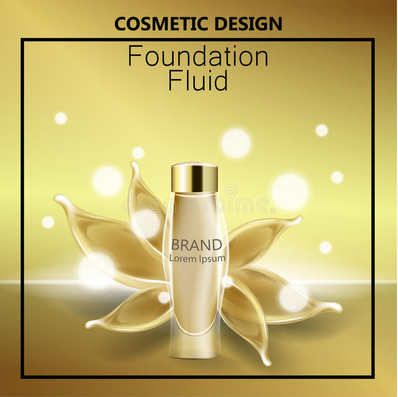 Glamorous foundation ads, glass bottle with foundation and foundation splashes, elegant ads for design, 3d vector.  vector illustration