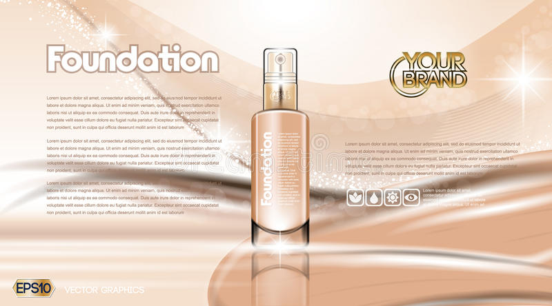Glamorous foundation ads. Glass bottle and sparkling effects background. Elegant golden lable for design, template, . Mockup 3D Realistic Vector illustration vector illustration