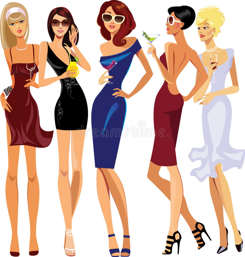 Glamorous lady cocktail, party, evening dresses royalty free illustration