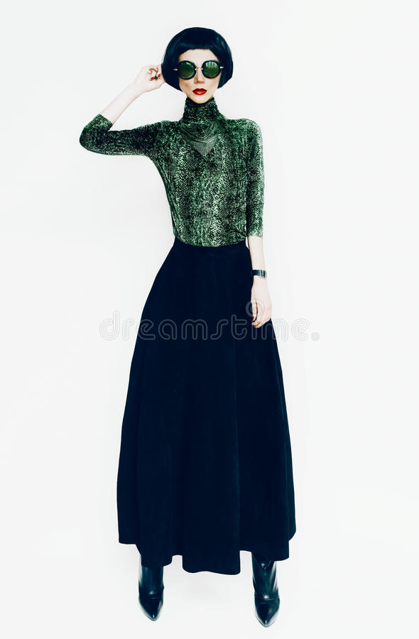 Free Glamorous Lady In Fashionable Blouse With Snake Print On White B Stock Image - 48620911