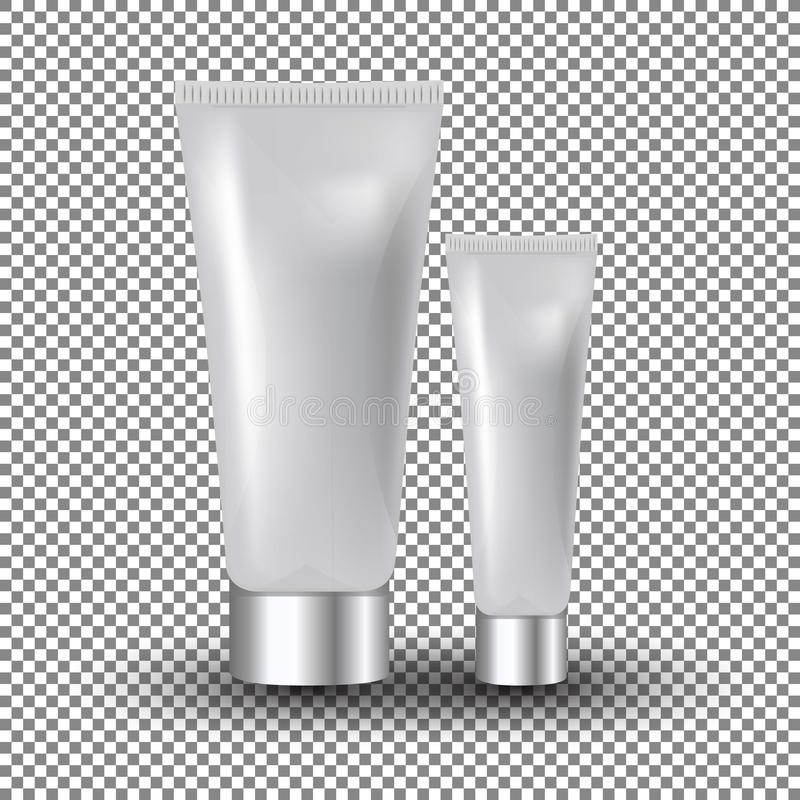 Glamorous white facial and eye cream jars on the transparent background. Mock-up 3D Realistic Vector illustration stock illustration