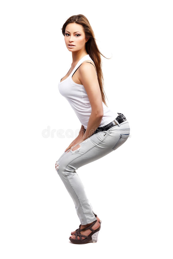 Download Glamorous woman stock photo. Image of body, jeans, beautiful - 15031124