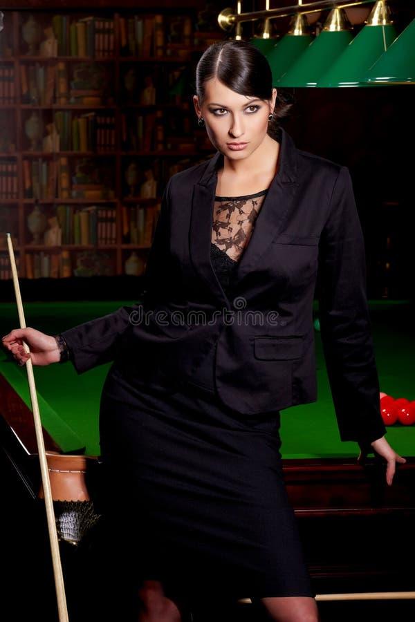 Download Glamorous woman witn cue stock image. Image of leisure - 14027965