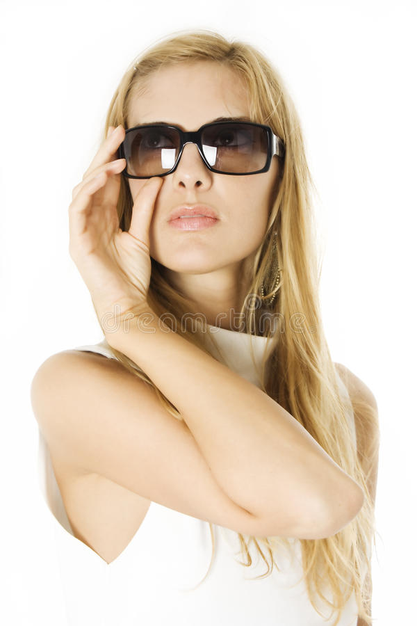 Glamorous young woman in sunglasses royalty free stock photos