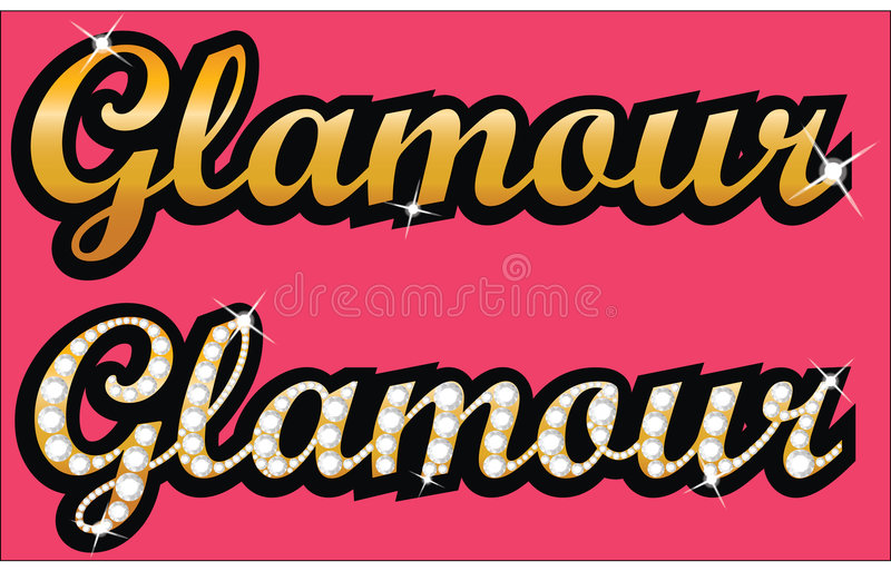 Glamour. Gold letters with diamonds royalty free illustration