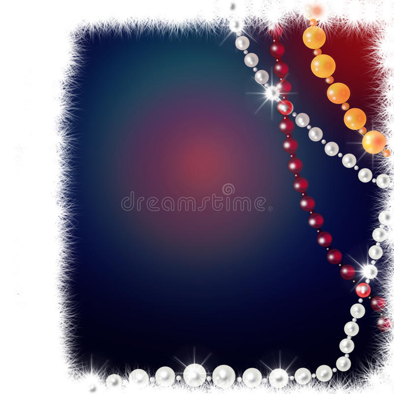 Glamour background. With fur and bead vector illustration
