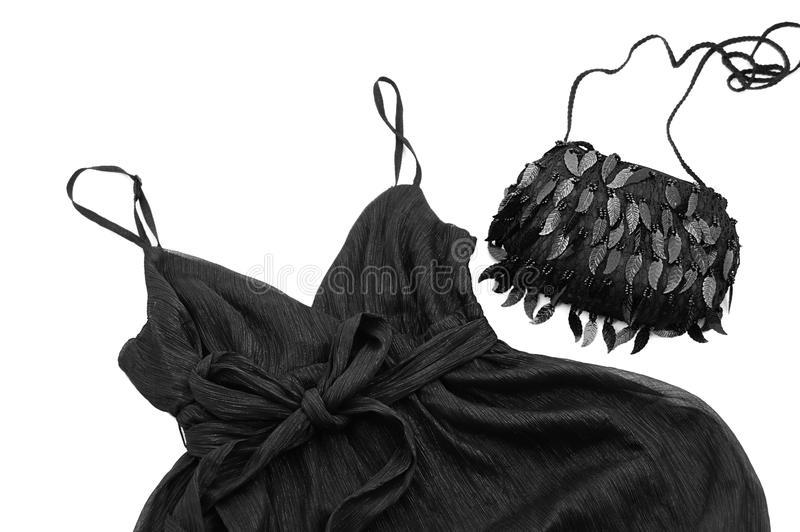 Glamour black dress and bag stock photography