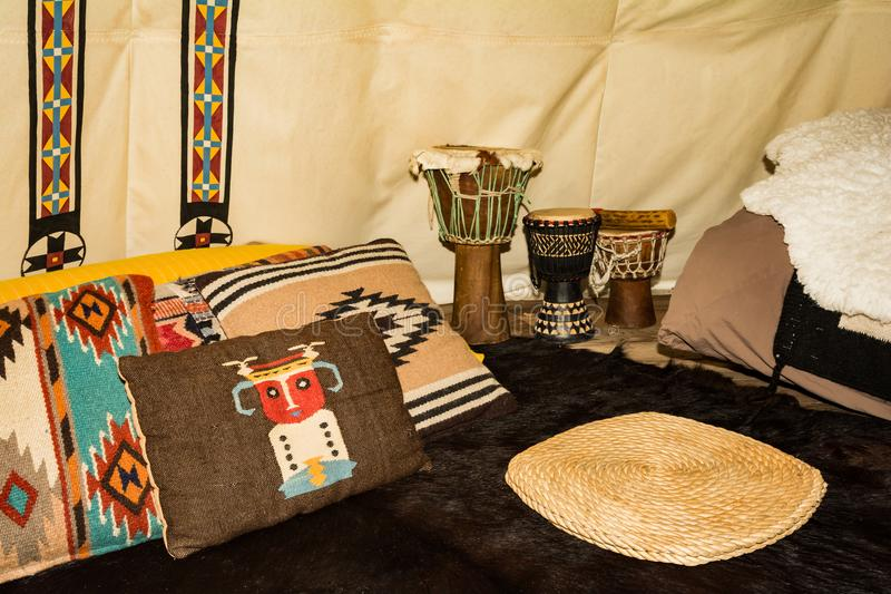 The inside of a Glamping Teepee stock photography