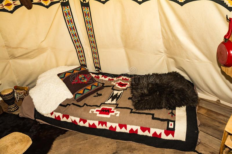 The inside of a Glamping Teepee stock image
