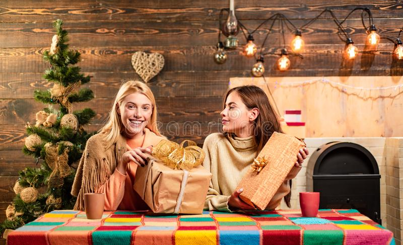 Glamour celebration. Girl friends in christmas at home. Christmas party, happy new year friends. Happy new year. We wish royalty free stock photography