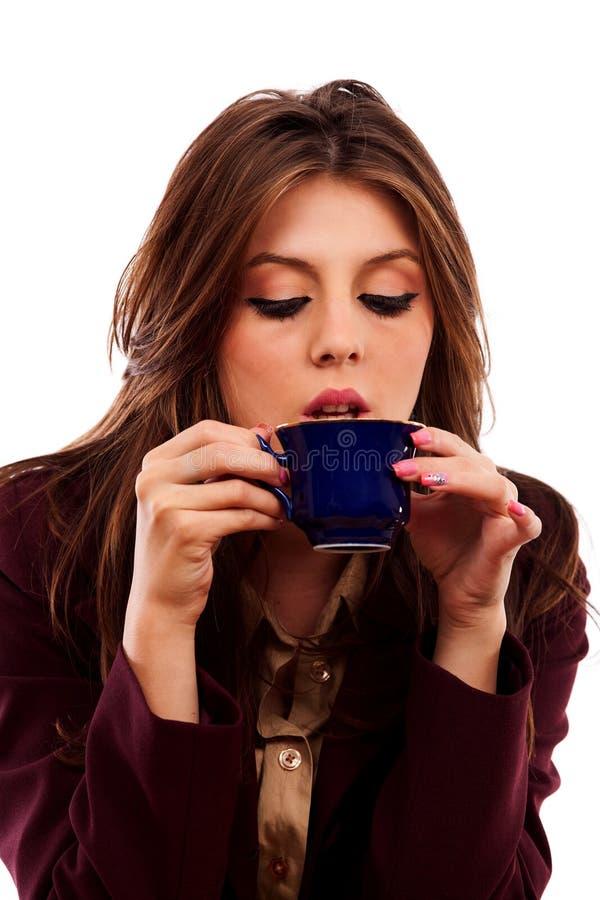 glamour för affärskvinnakaffekopp arkivbild
