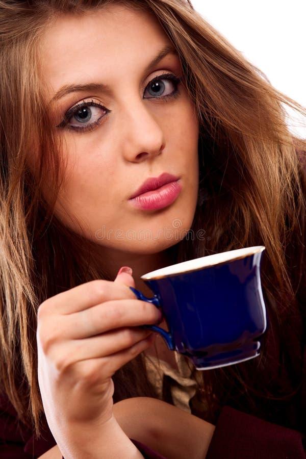 glamour för affärskvinnakaffekopp arkivbilder