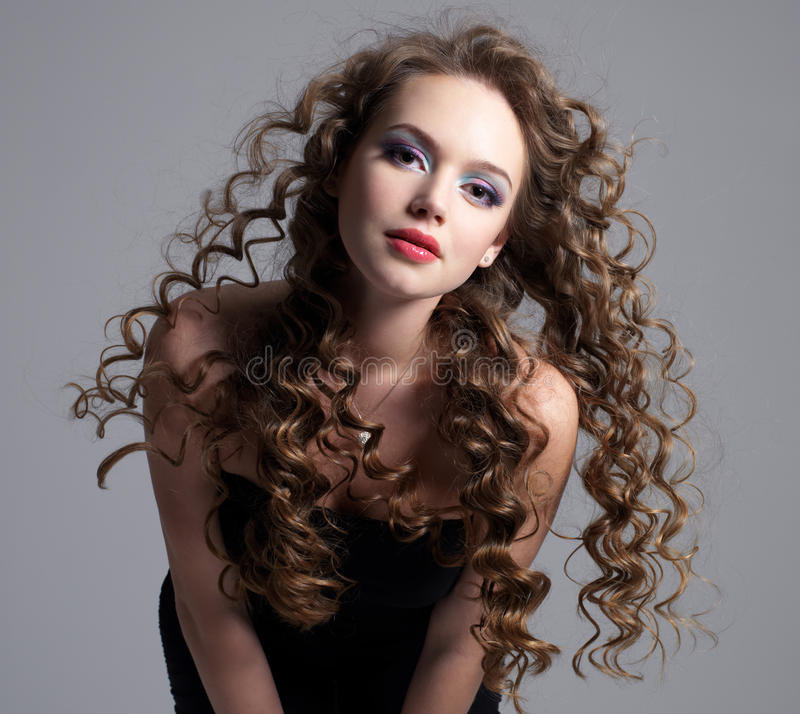 Download Glamour Face Of Teen Girl With Long Curly Hair Stock Image - Image of beautiful, curly: 19130747