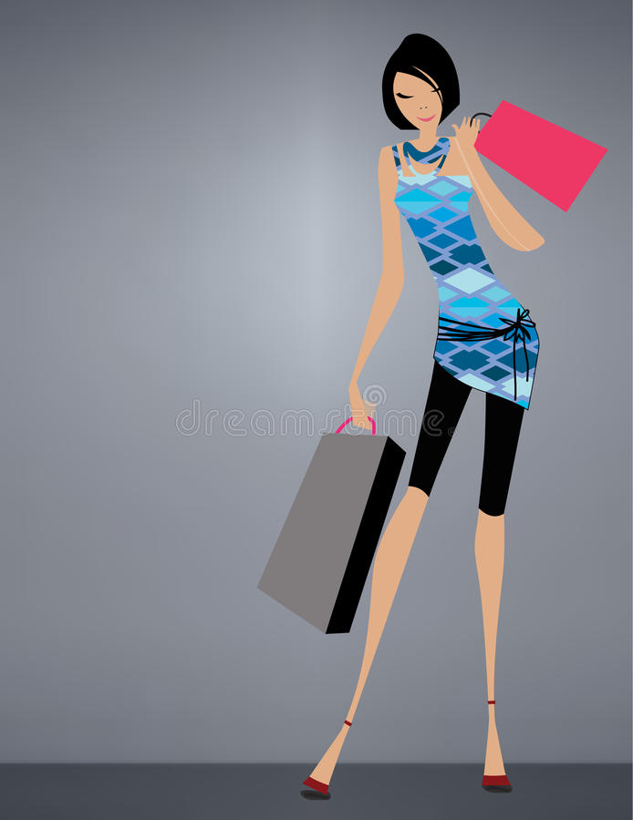 Download Glamour girl standing stock vector. Illustration of happiness - 21374781