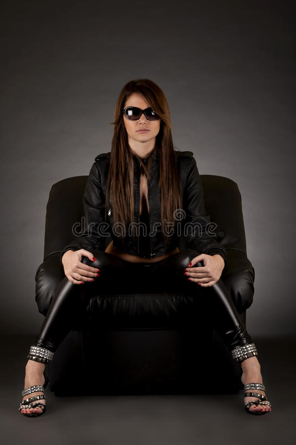 Glamour girl with sunglasses royalty free stock photo