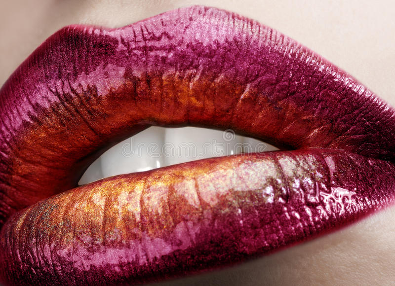 Download Glamour macro lips stock image. Image of multicolored - 28139591