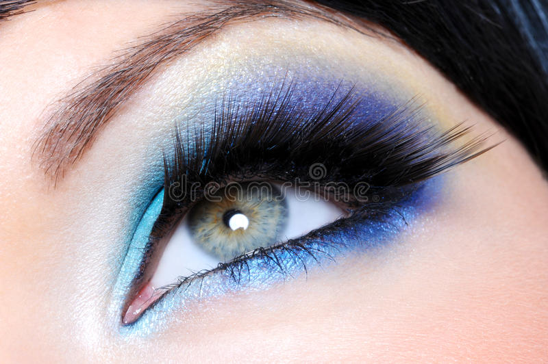 Glamour Make-up With Long False Eyelashes Stock Photography