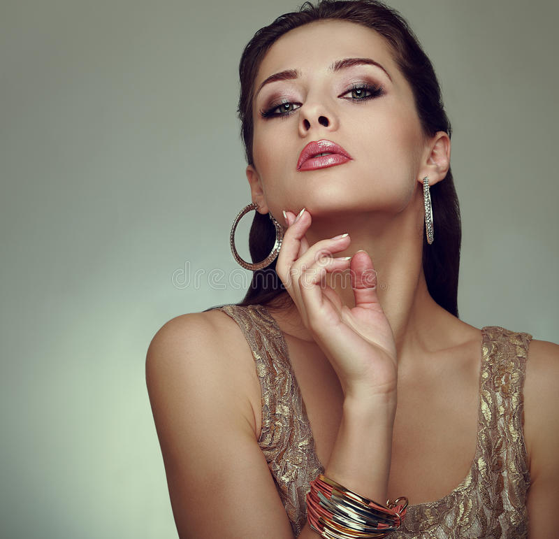 Glamour makeup woman posing. Art vogue royalty free stock photography