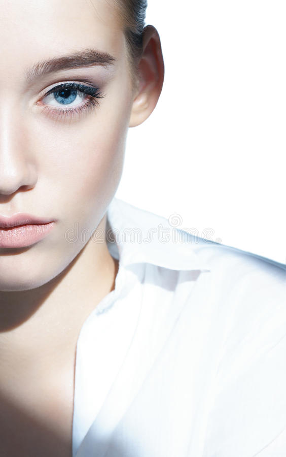 Glamour portrait of beautiful woman model with fresh daily makeup royalty free stock photography