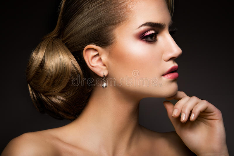 Glamour portrait of beautiful woman model with royalty free stock images