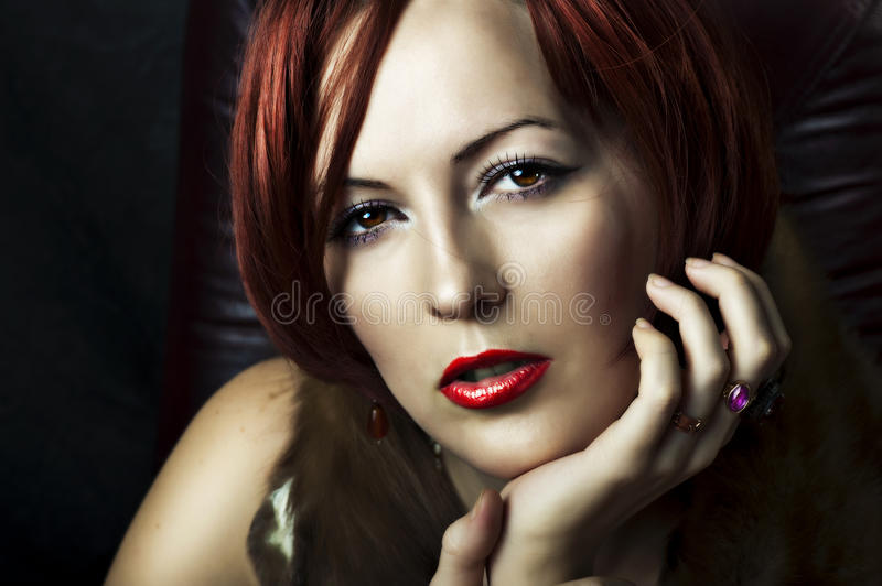 Glamour portrait of woman face stock photography