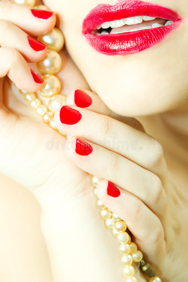 Download Glamour red lips stock image. Image of necklace, skin - 18884423