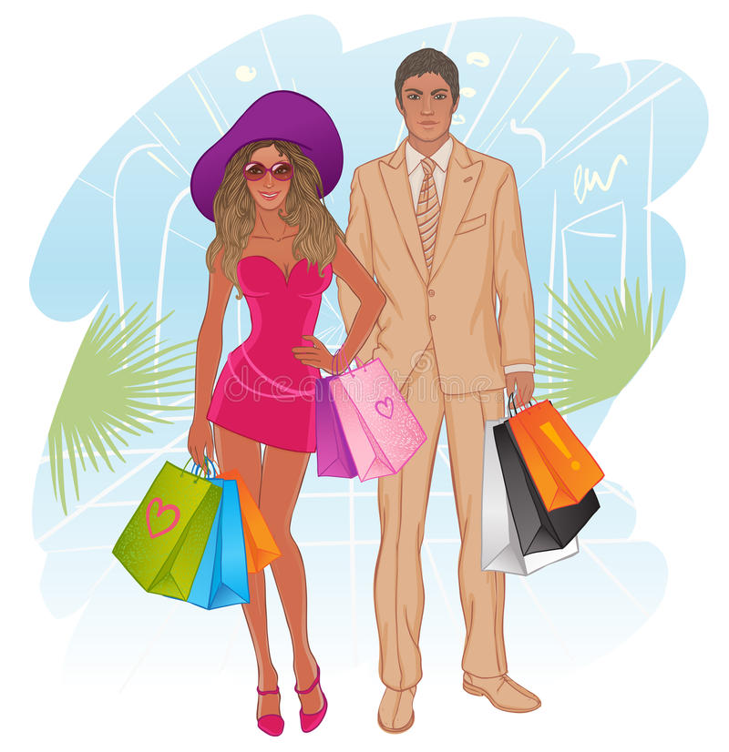Glamour shopping couple. Vector illustration. Full length companion portrait of a beautiful tanned young woman in mini dress and hat with handsome man with stock illustration