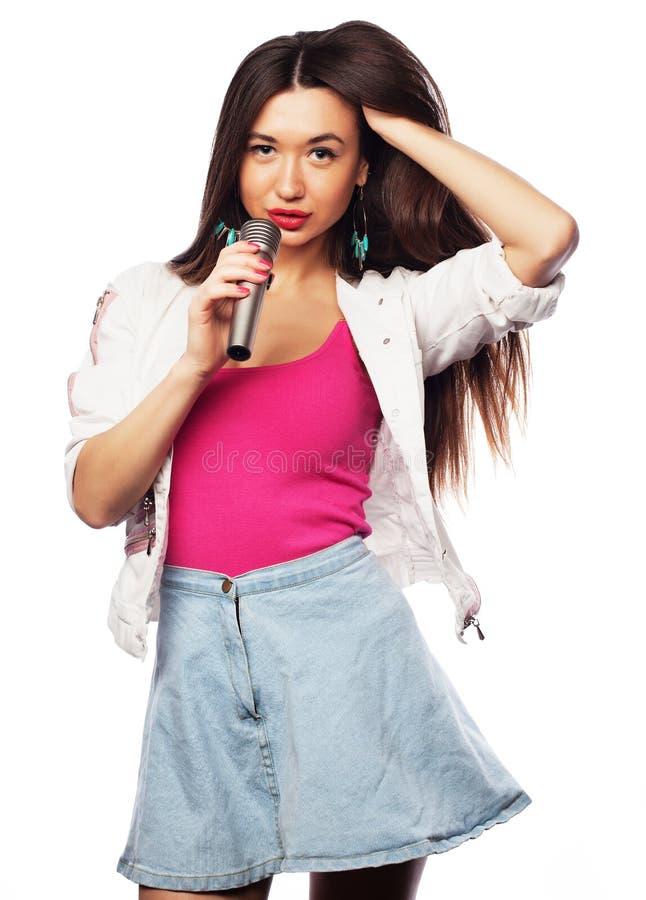 Glamour singer girl. Beauty glamour singer girl portrait. Isolated on white background stock image