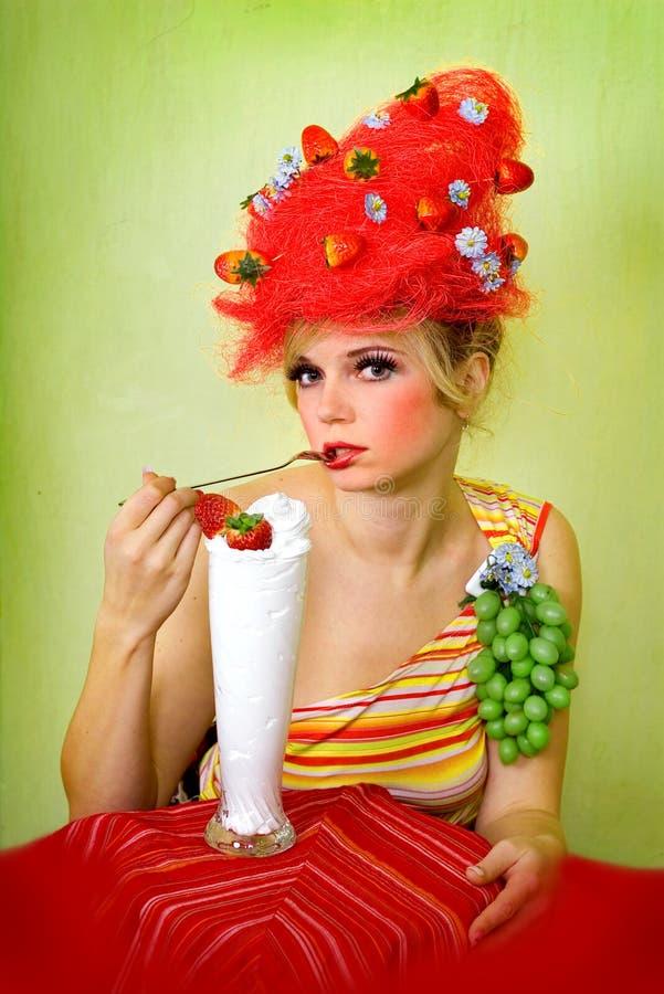 Glamour Strawberry Girl Royalty Free Stock Photo