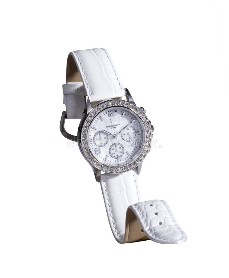 Glamour watch. A glamour watch for ladys shot in the studio. The watch is isolated in front of a white background royalty free stock photo