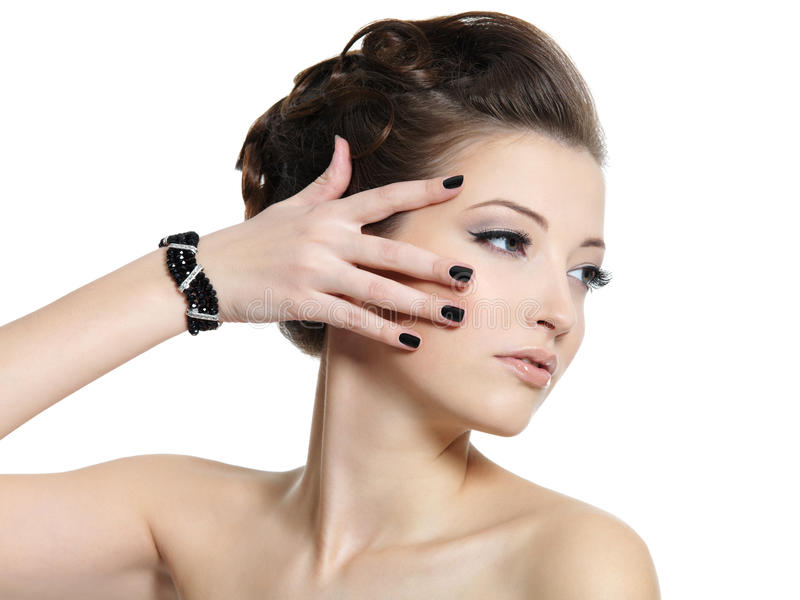Glamour Woman With Black Nails Royalty Free Stock Image