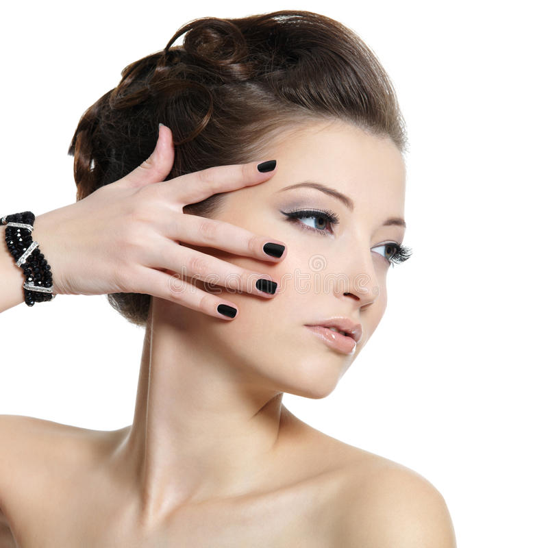 Glamour woman with black nails royalty free stock images