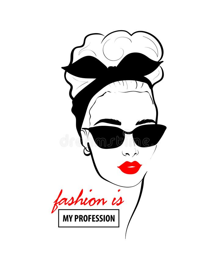Glamour woman in black sunglasses red lips. Fashion design sketch woman in style pop art. Glamour woman in black sunglasses red lips. Red mouth speed girl royalty free illustration