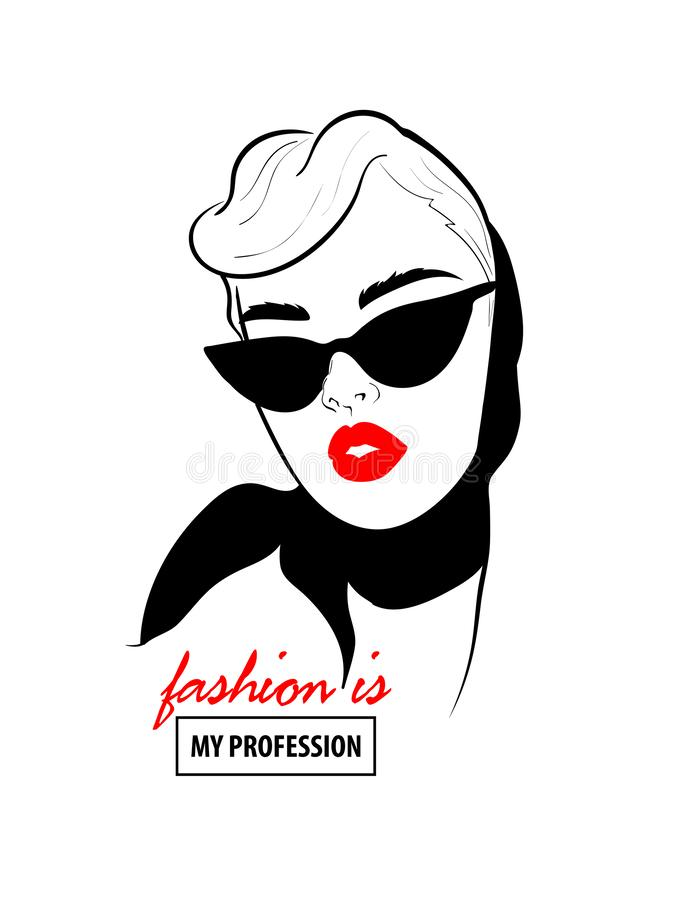 Glamour woman in black sunglasses red lips. Fashion design sketch woman in style pop art. Glamour woman in black sunglasses red lips. Red mouth speed girl vector illustration