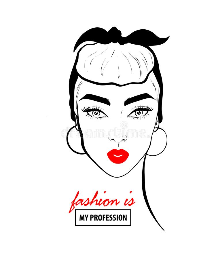 Glamour woman in black sunglasses red lips. Fashion design sketch woman in style pop art. Glamour woman in black sunglasses red lips. Red mouth speed girl stock illustration