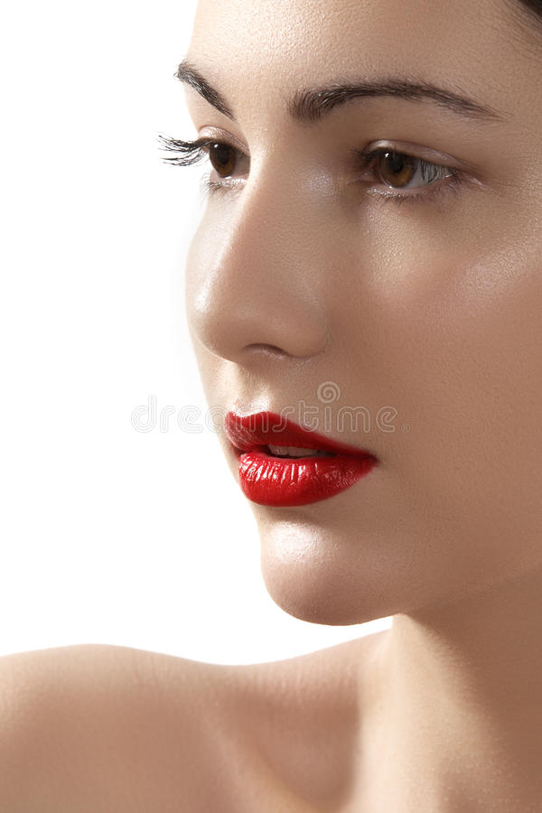 Glamour woman model with bright fashion make-up stock photography