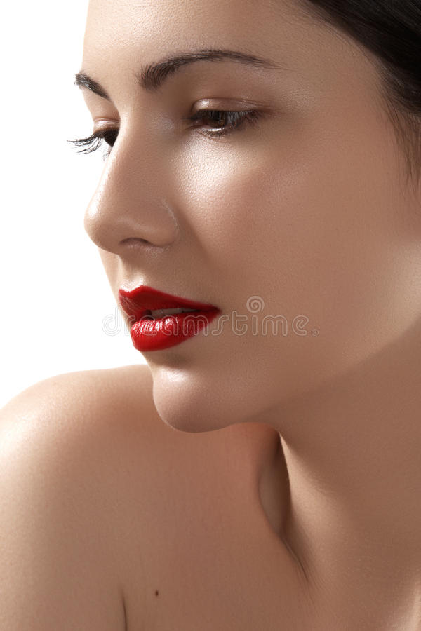 Glamour woman model with bright fashion make-up royalty free stock photography