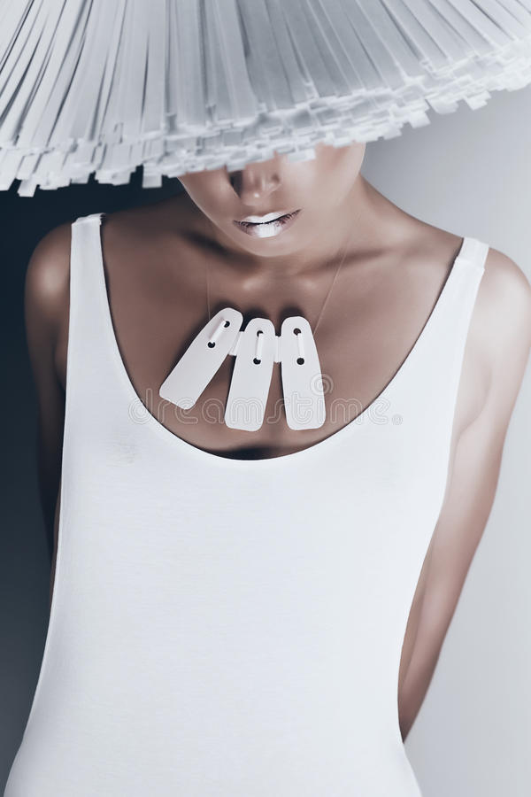 Glamour woman in white body and hat royalty free stock images