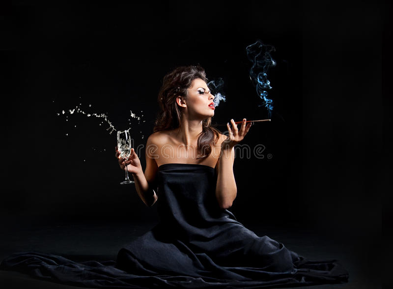 Glamour Women With Champagne Royalty Free Stock Images