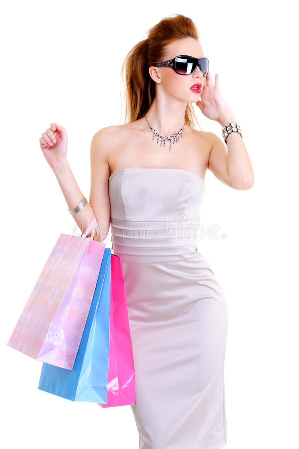 Free Glamour Young European Woman With Purchases Stock Image - 11902841