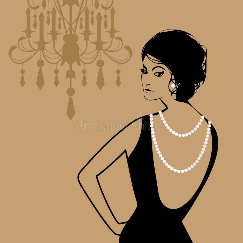 Glamourkvinna royaltyfri illustrationer