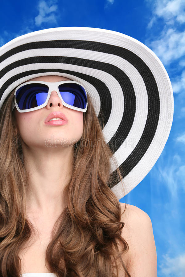 Download Glamourous Girl In Hat And Sunglasses Stock Image - Image of fashion, live: 11593835