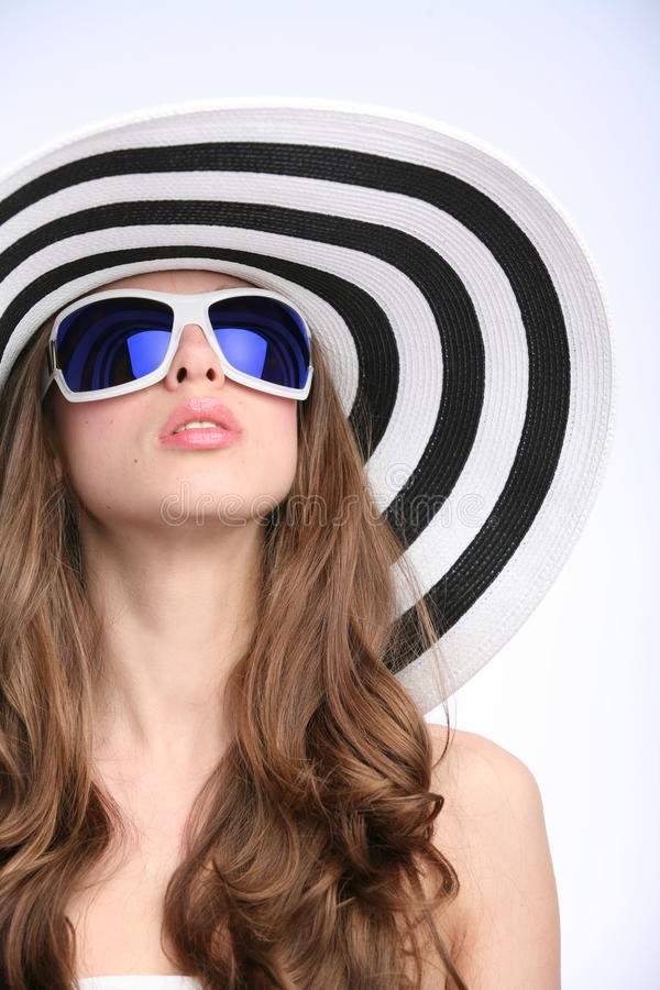 Glamourous Girl In Striped Hat Stock Image