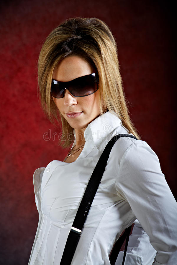 Download Glamourous Young Woman Wearing Sunglasses Stock Image - Image: 24124861