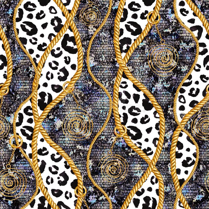 Glamoursnakeskin för guld- kedja och illustration för modell för leopardpäls sömlös Vattenfärgtextur med guld- kedjor vektor illustrationer